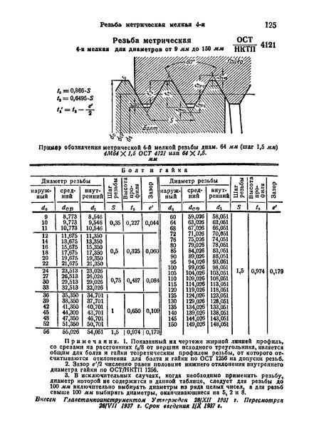 ОСТ НКТП 4121 Резьба метрическая 4-я мелкая для диаметров от 9 мм до 150 мм