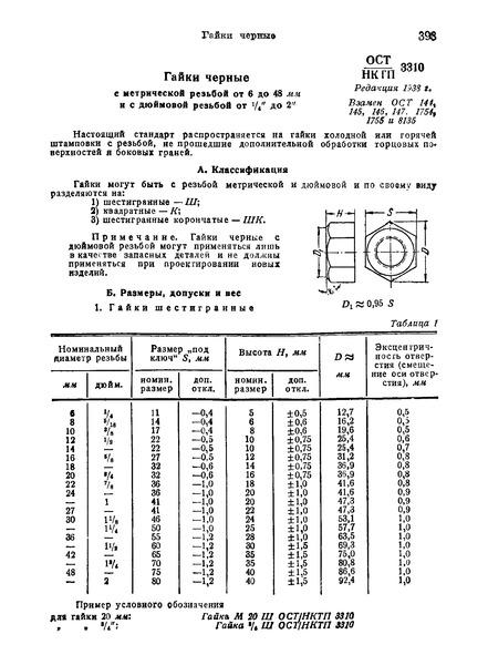 ОСТ НКТП 3310 Гайки черные с метрической резьбой от 6 до 48 мм и с дюймовой резьбой от 1/4