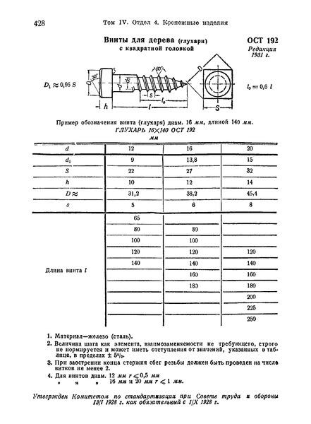 ОСТ 192 Винты для дерева (глухари) с квадратной головкой