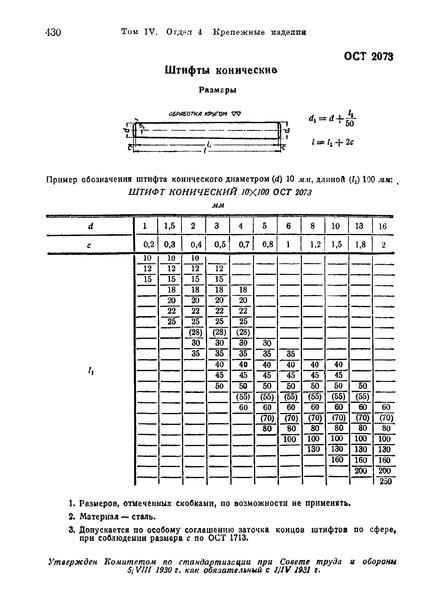 ОСТ 2073 Штифты конические. Размеры