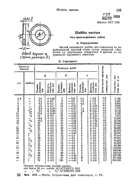 ОСТ НКТП 3233 Шайбы чистые под шестигранные гайки