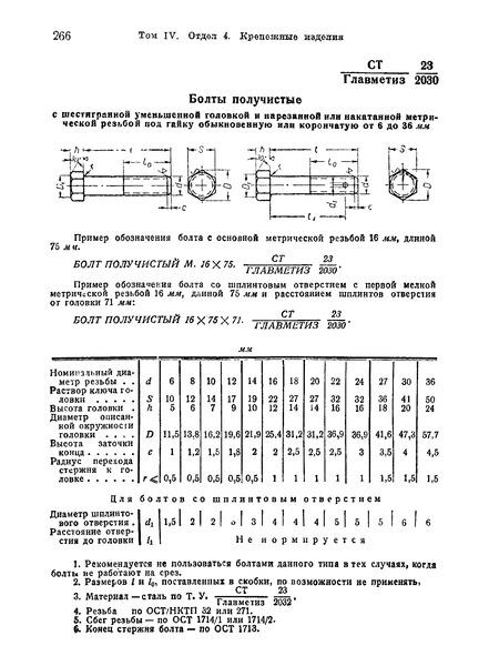 СТ Главметиз 23/2030 Болты получистые с шестигранной уменьшенной головкой и нарезанной или накатанной метрической резьбой под гайку обыкновенную или корончатую от 6 до 36 мм