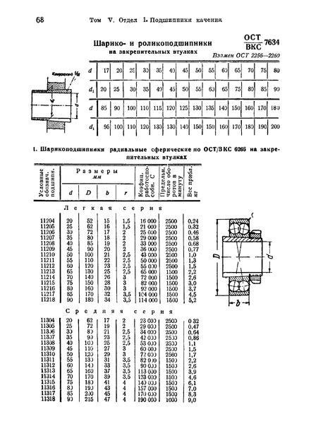 ОСТ ВКС 7634 Шарико- и роликоподшипники на закрепительных втулках