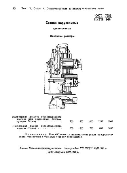 ОСТ НКТП 7986/944 Станки карусельные одностоечные. Основные размеры