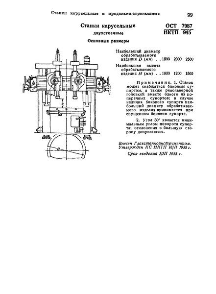 ОСТ НКТП 7987/945 Станки карусельные двухстоечные. Основные размеры
