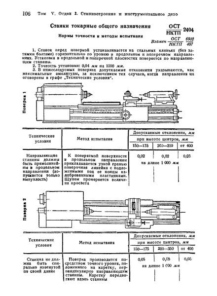 ОСТ НКТП 2404 Станки токарные общего назначения. Нормы точности и методы испытания