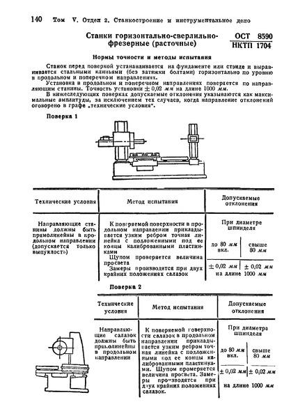ОСТ НКТП 8590/1704 Станки горизонтально-сверлильно-фрезерные (расточные). Нормы точности и методы испытания