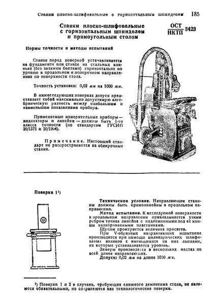ОСТ НКТП 3423 Станки плоско-шлифовальные с горизонтальным шпинделем и прямоугольным столом. Нормы точности и методы испытаний