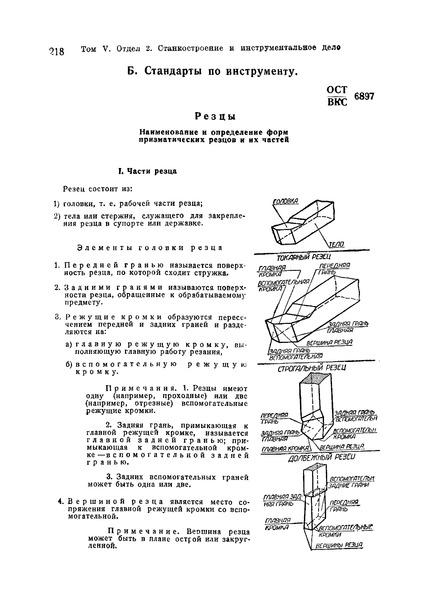ОСТ ВКС 6897 Резцы. Наименование и определение форм призматических резцов и их частей