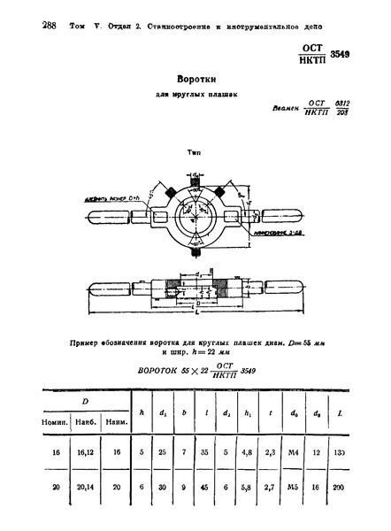ОСТ НКТП 3549 Воротки для круглых плашек