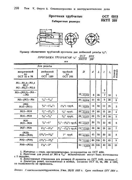 ОСТ НКТП 6313/299 Прогонки трубчатые. Габаритные размеры