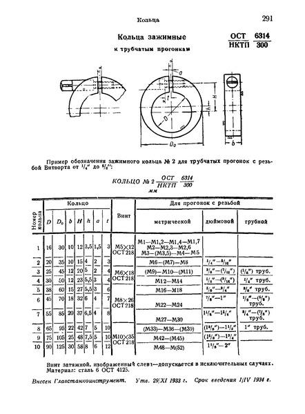 ОСТ НКТП 6314/300 Кольца зажимные к трубчатым прогонкам