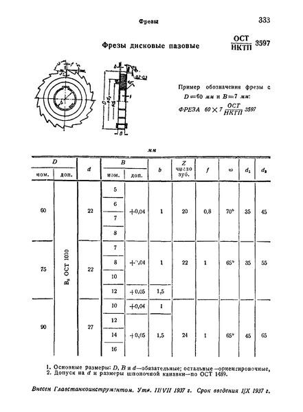 ОСТ НКТП 3597 Фрезы дисковые пазовые