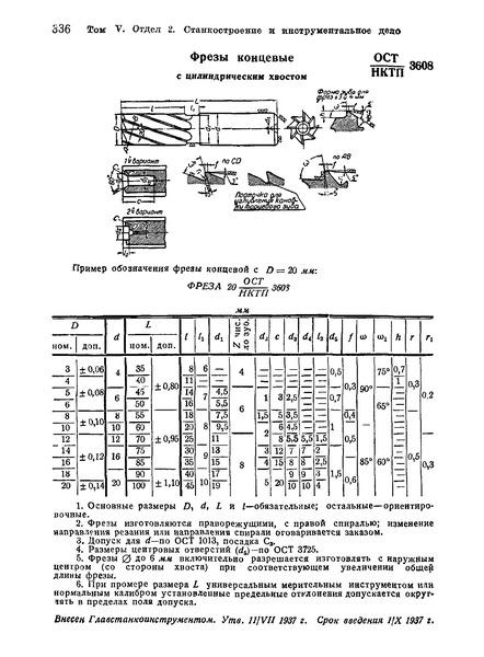 ОСТ НКТП 3608 Фрезы концевые с цилиндрическим хвостом