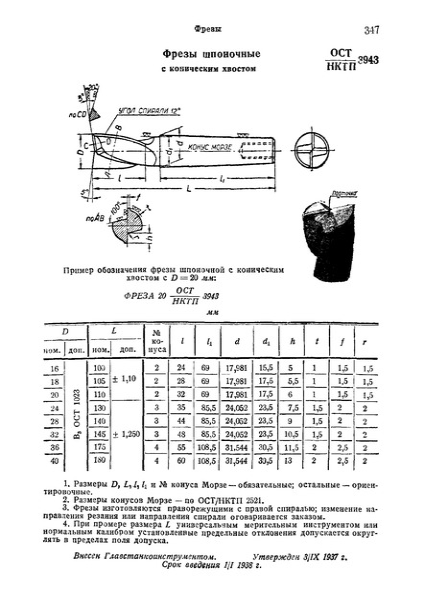 ОСТ НКТП 3943 Фрезы шпоночные с коническим хвостом