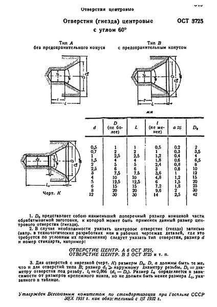 ОСТ 3725 Отверстия (гнезда) центровые с углом 60 градусов
