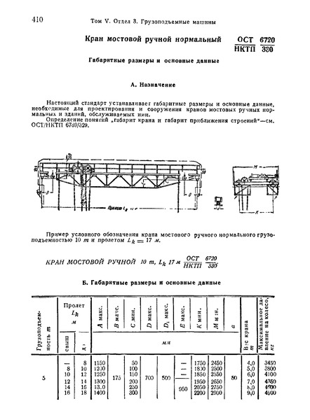 ОСТ НКТП 6720/330 Кран мостовой ручной нормальный. Габаритные размеры и основные данные