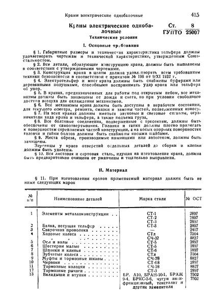 СТ ГУПТО 8/25007 Краны электрические однобалочные. Технические условия