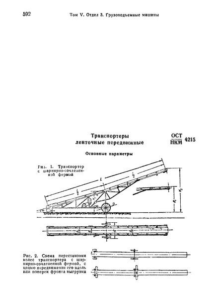 ОСТ НКМ 4215 Транспортеры ленточные передвижные. Основные параметры