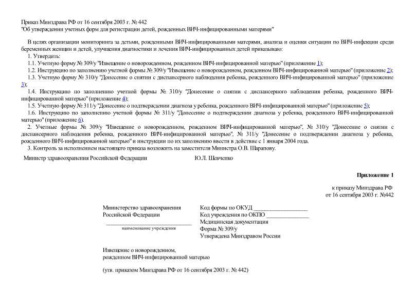 Приказ 442 Об утверждении учетных форм для регистрации детей, рожденных ВИЧ-инфицированными матерями