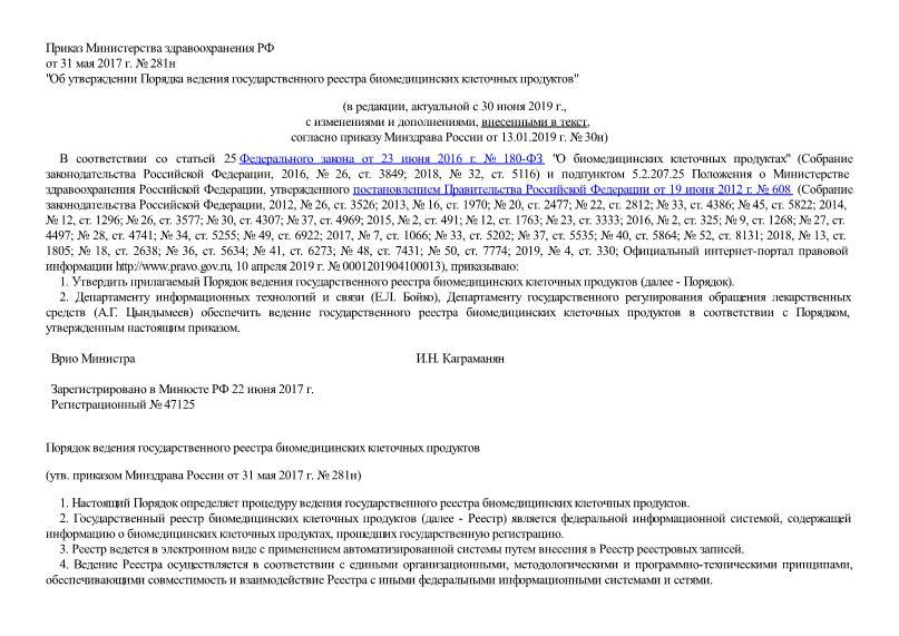 Порядок ведения государственного реестра биомедицинских клеточных продуктов