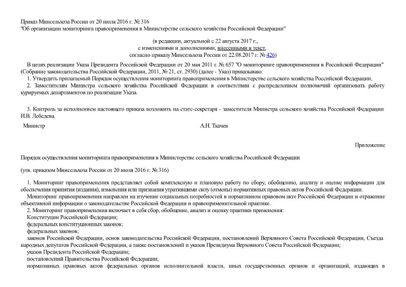 Приказ 316 Об организации мониторинга правоприменения в Министерстве сельского хозяйства Российской Федерации
