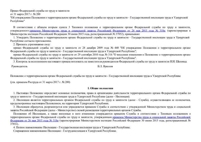 Положение о территориальном органе Федеральной службы по труду и занятости - Государственной инспекции труда в Удмуртской Республике