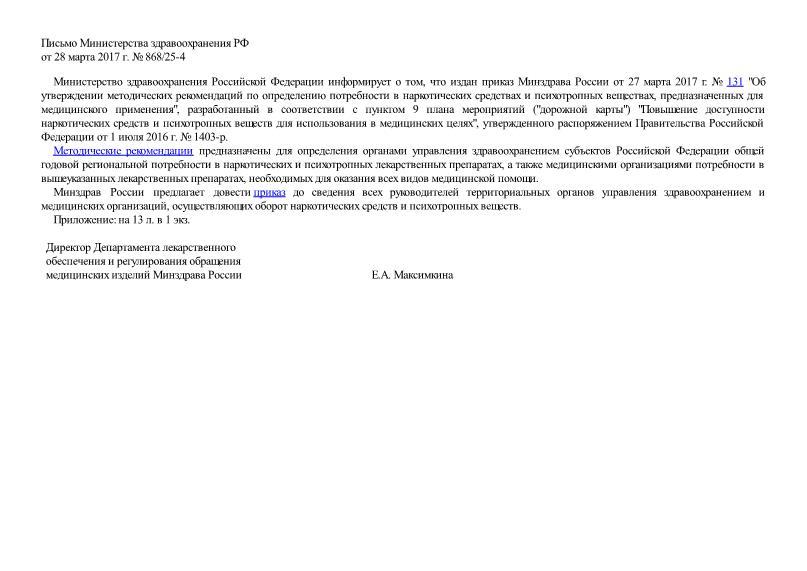 Письмо 868/25-4 Об издании приказа Минздрава России от 27 марта 2017 г. № 131