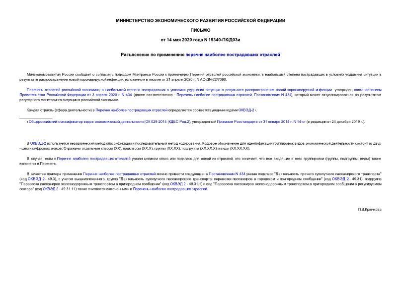 Письмо 15340-ПК/Д03и Разъяснение по применению Перечня наиболее пострадавших отраслей