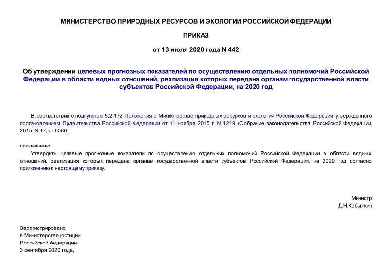 Целевые прогнозные показатели по осуществлению отдельных полномочий Российской Федерации в области водных отношений, реализация которых передана органам государственной власти субъектов Российской Федерации, на 2020 год