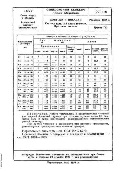 ОСТ 1143 Допуски и посадки. Система вала. 2-й класс точности. Прессовая посадка