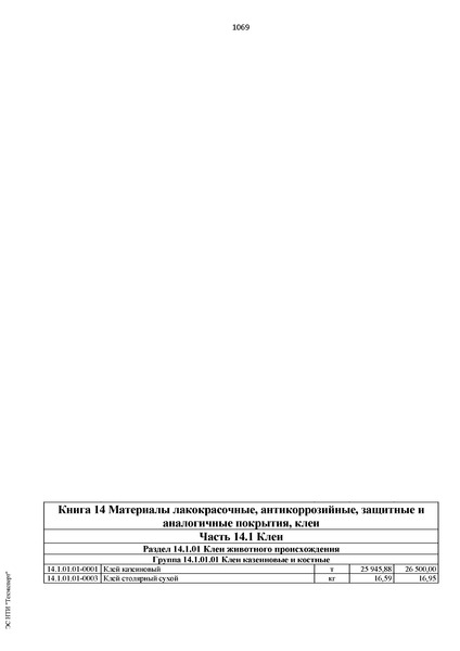 ФССЦ 81-01-2001 Федеральные сметные цены на материалы, изделия, конструкции и оборудование, применяемые в строительстве. Книга 14. Материалы лакокрасочные, антикоррозийные, защитные и аналогичные покрытия, клеи