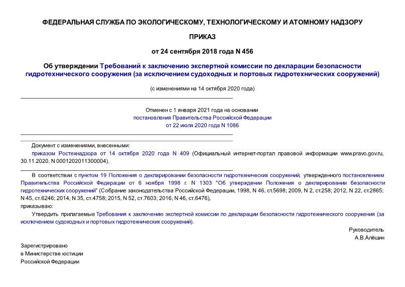 Приказ 456 Об утверждении Требований к заключению экспертной комиссии по декларации безопасности гидротехнического сооружения (за исключением судоходных и портовых гидротехнических сооружений) (с изменениями на 14 октября 2020 года) (отменен с 01.01.2021 на основании постановления Правительства Российской Федерации от 22.07.2020 N 1086)