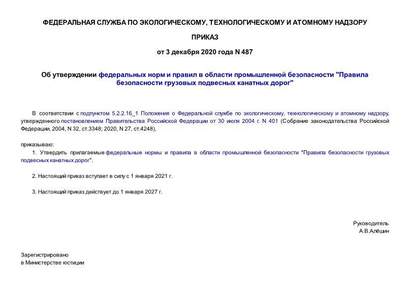 Приказ 487 Об утверждении федеральных норм и правил в области промышленной безопасности