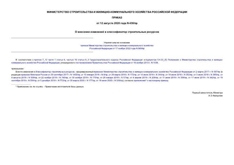 Приказ 438/пр О внесении изменений в классификатор строительных ресурсов