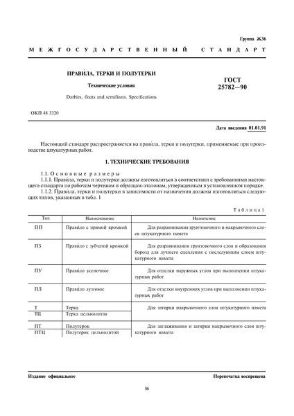ГОСТ 25782-90 Правила, терки и полутерки. Технические условия