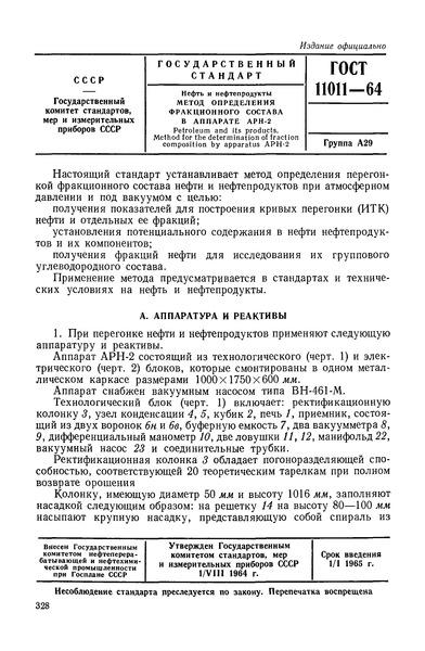 ГОСТ 11011-64 Нефть и нефтепродукты. Метод определения фракционного состава в аппарате АРН-2