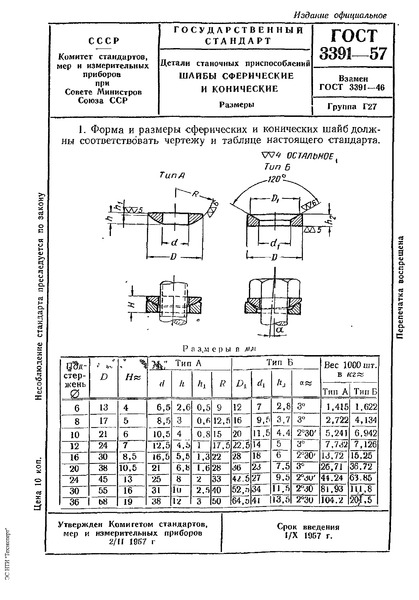 ГОСТ 3391-57 Детали станочных приспособлений. Шайбы сферические и конические. Размеры