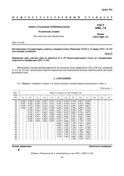 ГОСТ 6009-74 Лента стальная горячекатаная. Технические условия