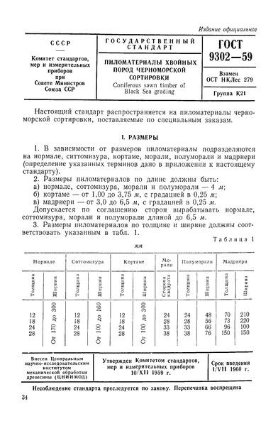 ГОСТ 9302-59 Пиломатериалы хвойных пород Черноморской сортировки