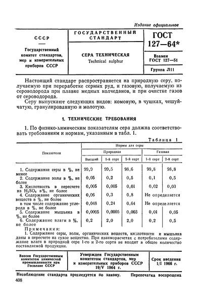 ГОСТ 127-64 Сера техническая