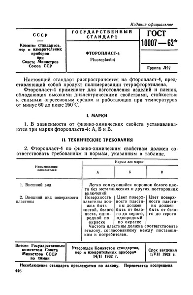 ГОСТ 10007-62 Фторопласт-4