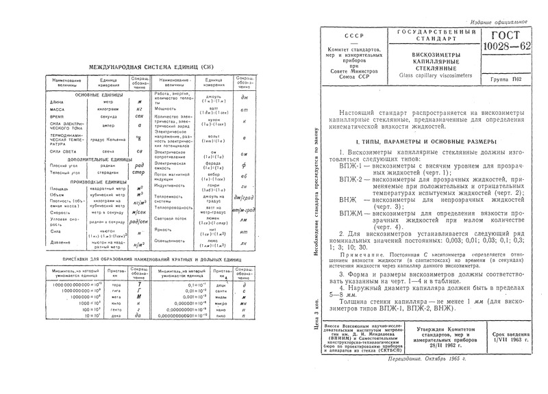ГОСТ 10028-62 Вискозиметры капиллярные стеклянные
