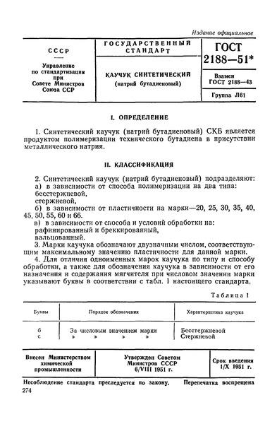 ГОСТ 2188-51 Каучук синтетический (натрий бутадиеновый)