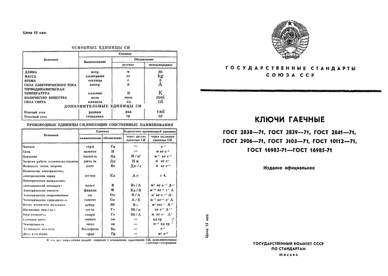 ГОСТ 16985-71 Ключи шарнирные для круглых гаек шлицевых. Конструкция и размеры