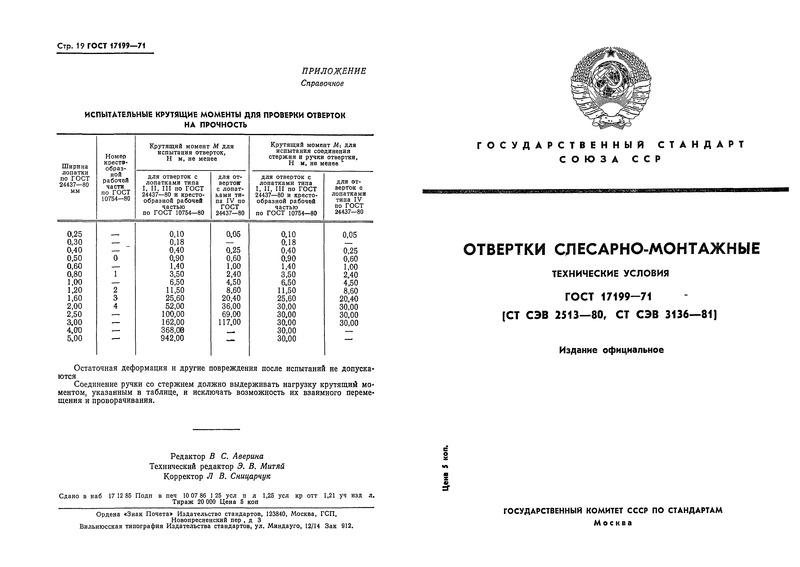 ГОСТ 17199-71 Отвертки слесарно-монтажные
