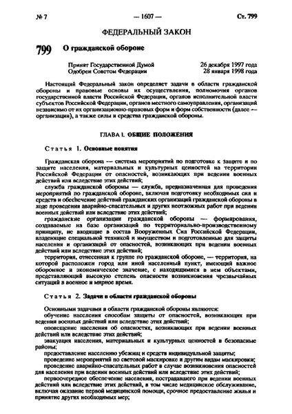 Федеральный закон 28-ФЗ О гражданской обороне