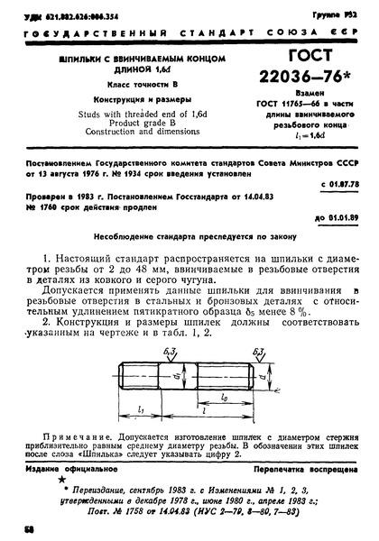ГОСТ 22036-76 Шпильки с ввинчиваемым концом длиной 1,6d. Класс точности В. Конструкция и размеры