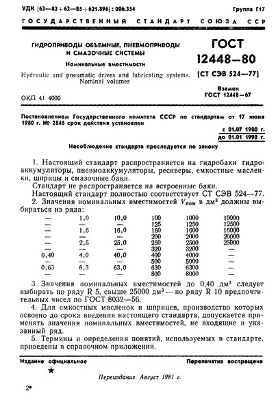 ГОСТ 12448-80 Гидроприводы объемные, пневмоприводы и смазочные системы. Номинальные вместимости