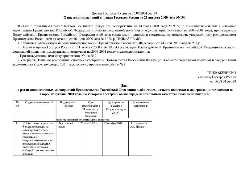 Приказ 184 О внесении изменений в приказ Госстроя России от 21 августа 2000 года № 190